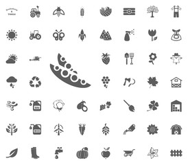 Peas icon. Gardening and tools vector icons set