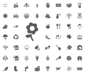 Flower icon. Gardening and tools vector icons set