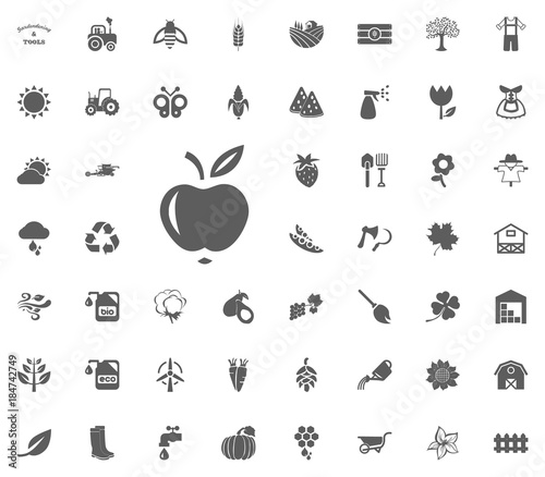 Apple icon  Gardening and tools vector icons set
