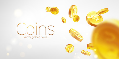 Banner Realistic Gold coins flying. Gray background.