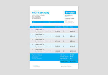 Business Invoice Layout with Blue Accents 2