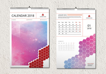 2018 Wall Calendar with Honeycomb Photo Element