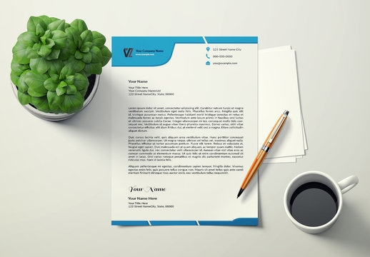 Letterhead Layout with Blue Header and Footer 2