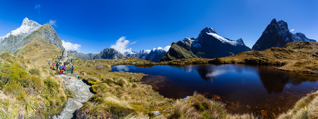 Landscape panorama from the Mackinnon Pass, on the Milford Track, New Zealand