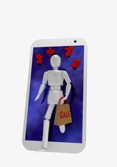 Eine Marionette kommt aus dem Display eines Handys. In ihrer Hand hält sie eine Einkaufstüte auf der Sale steht.
