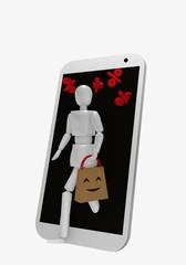 Eine Marionette kommt, zusammen mit Prozentzeichen, aus dem Display eines Handys. In ihrer Hand hält sie eine Einkaufstüte auf der ein lachendes Gesicht ist.
