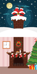 Christmas banner. Santa Claus climbing through the chimney. Night, moon, snow and star. Brick fireplace, Christmas tree and food for Santa. Happy New year.