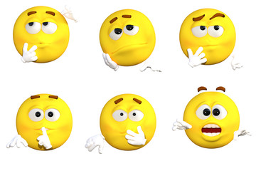 yellow faces with expressions isolated on white. 3d render