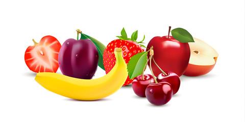 Isolated on white background realistic fruit icons set. Strawberry, Apple, Plum, Banana and Cherry