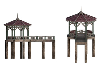 Wooden Pier and bandstand isolated on white. 3d render