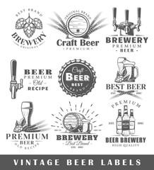 Set of vintage beer labels