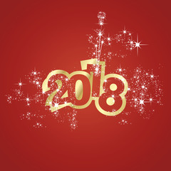 Vector 2018 Happy New Year champagne firework red background