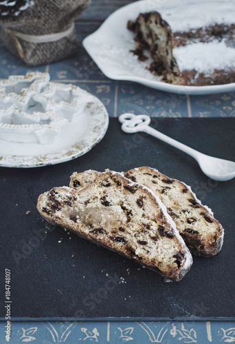 stollen cake traditional german christmas cake dark food photography healthy lifestyle toned
