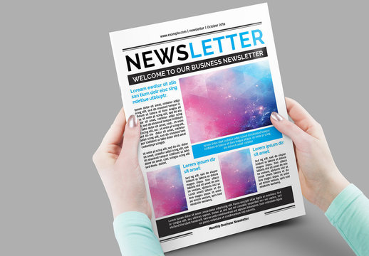 12 Page Newsletter Layout with Blue Accents