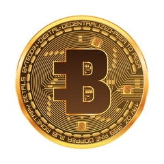 Crypto currency golden coin with golden bytecoin symbol on obverse isolated on white background. Vector illustration. Use for logos, print products, page and web decor or other design.