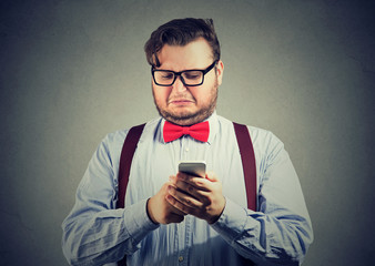 Man looking offended with social media