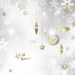 Christmas light background with white and golden snowflakes and decoration.