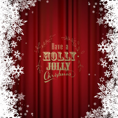 Have a holly jolly Christmas with many snowflakes on red curtain background.