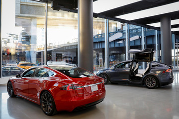 Tesla Motors' cars are displayed at the company's new showroom in Manhattan's Meatpacking District in New York