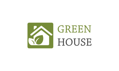 Square green house logo