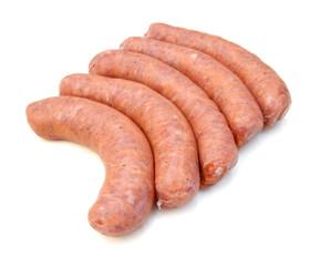 Raw sausage on white background