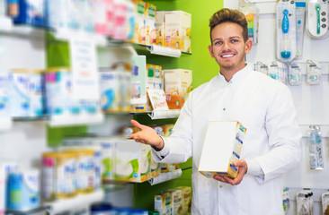 Pharmacist working in pharmaceutical shop