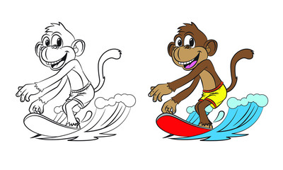 cartoon monkey surfing. Both in separate layers for easy editing and coloring