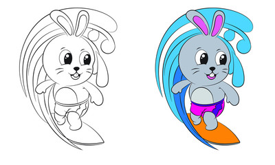 cartoon rabbit surfing . Both in separate layers for easy editing and coloring