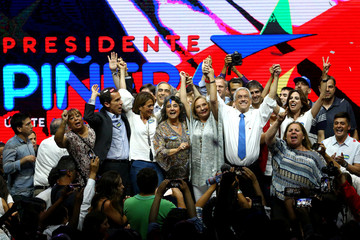 Chilean presidential candidate Sebastian Pinera attends his campaign rally in Santiago,