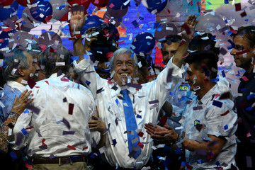 Chilean presidential candidate Sebastian Pinera attends his campaign closing rally in Santiago,