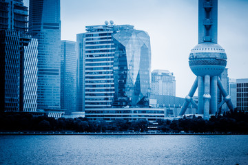 financial district of shanghai, china.