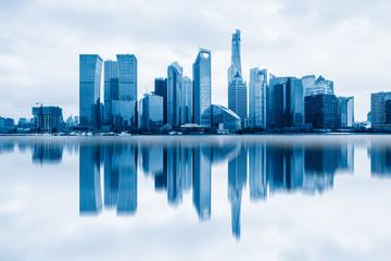 shanghai cityscape and skyline, copy space.