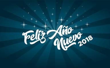 Spanish Happy new year 2018 greeting card