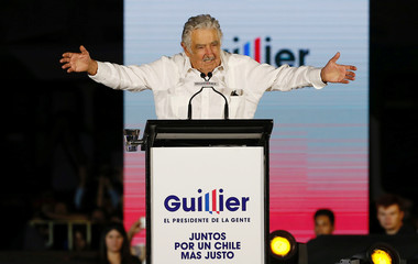 Former Uruguayan president Jose Mujica delivers a speech during the campaign closing rally of Chilean presidential candidate Alejandro Guillier in Santiago, Chile