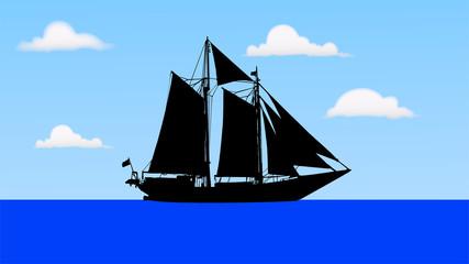 海を進む帆船のシルエット
