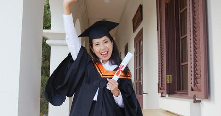Happy woman get graduation