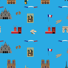 Blue Paris vector seamless pattern hand-drawn landmarks.