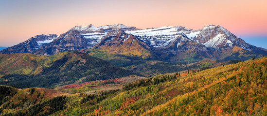 Wall Mural - Fresh autumn snow in the Wasatch, Utah, USA.