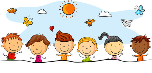 Happy kids cartoon with different pose