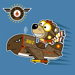 Funny pilot on jet plane cartoon