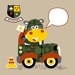 Cartoon animal on military car