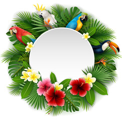 Round blank sign with birds collection and tropical plants background