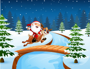 Happy santa claus riding a reindeer on the bridge in the snowing hill