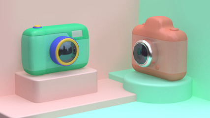 green pink camera set abstract scene 3d rendering cartoon style