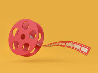 red film roll cinema movie technology concept 3d rendering cartoon style