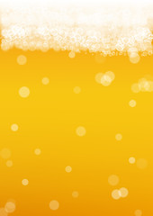 Beer background with realistic bubbles. Cool liquid drink for pub and bar menu design, banners and flyers. Yellow vertical beer background with white frothy foam. Cold pint of golden lager or ale.