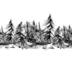 Seamless watercolor linear pattern, border. black silhouette spruce, pine, cedar, larch, abstract forest, silhouette of trees. On white isolated background..