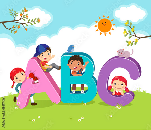Cartoon kids with ABC letters Stock image and royalty free vector