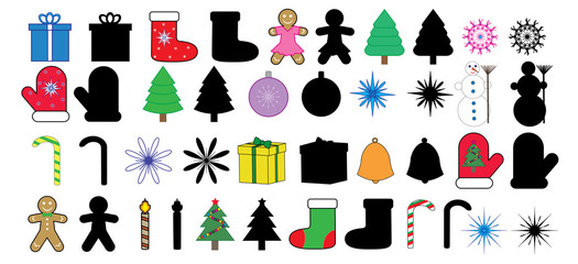 Christmas (new year) icons, images and silhouette, set, vector.