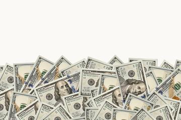 Frame of 100 dollars banknotes